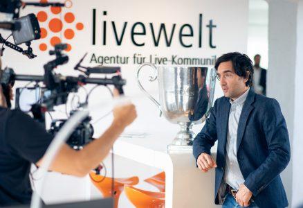 Filmset Gütersloh: livewelt dreht mit Sport- und Filmprominenz